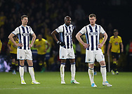 WBA's Allan Nyon looks on dejected after Watford's second goal during the Premier League match at Vicarage Road Stadium, London. Picture date: April 4th, 2017. Pic credit should read: David Klein/Sportimage