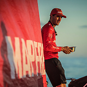 Leg 4, Melbourne to Hong Kong, day 08 on board MAPFRE, Blair tuke having breakfast at the stay during the sunrise. Photo by Ugo Fonolla/Volvo Ocean Race. 08 January, 2018.