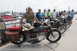 Frank Westfall (L) with all of the 4-Cylinder Henderson's on the boardwalk before the start of the Motorcycle Cannonball Race of the Century Run. Atlantic City, NJ, USA. September 9, 2016. Photography ©2016 Michael Lichter.