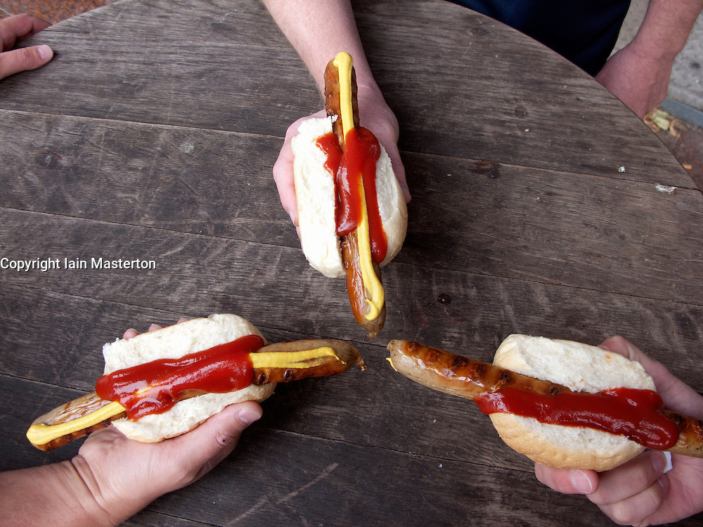 Three traditional bratwurst sausages in Berlin Germany