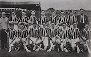 "Kilkenny All-Ireland Hurling Champions 1957. .Back Row: Syd BLuett, Jim ""Link"" Walsh, Dick Rockett, John Sutton, Mick Brophy, Sean Clohossy, Mick Kenny, Olly Walsh, Bob Ayleward. Front Row: Johnny McGovern, Billy Dwyer, Paddy Buggy, Mick Kelly (capt), Mickey Walsh, Tom Walsh, John Maher."