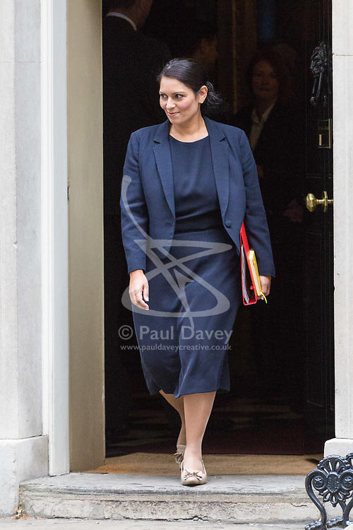 London, October 10 2017. International Development Secretary Priti Patel attends the UK cabinet meeting at Downing Street. © Paul Davey