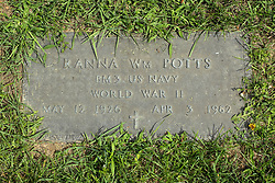 31 August 2017:   Veterans graves in Park Hill Cemetery in eastern McLean County.<br /> <br /> Ranna Wm. Potts  BM3 US Navy  World War II  May 12 1926  Apr 3 1982
