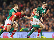 Garry Ringrose of Ireland breaks away from Gordon McRorie of Canada during the 2016 Guinness Series  autumn international rugby match, Ireland v Canada at the Aviva Stadium in Dublin, Ireland on Saturday 12th November 2016.<br /> pic by  John Halas, Andrew Orchard sports photography.