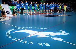 Players of Celje during handball match between RK Celje Pivovarna Lasko (SLO) and Mkb Veszprem Kc (HUN) in 5th Round of EHF Men's Champions League on November 17, 2013 in Arena Zlatorog, Celje, Slovenia.  Photo by Vid Ponikvar / Sportida