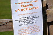Playground Closed Do Not Enter Coronavirus Covid-19, Lockdown, April 2020, UK