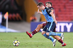 January 8, 2018 - Brisbane, QUEENSLAND, AUSTRALIA - Brandon O'Neill of Sydney (13, blue) and Petros Skapetis of the Roar (33) compete for the ball during the round fifteen Hyundai A-League match between the Brisbane Roar and Sydney FC at Suncorp Stadium on Monday, January 8, 2018 in Brisbane, Australia. (Credit Image: © Albert Perez via ZUMA Wire)