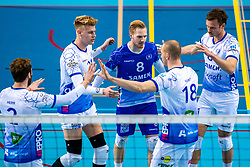 Bennie Tuinstra of Lycurgus, Steven Ottevanger of Lycurgus, Thomas Douglas Powell of Lycurgus celebrate during the league match between Draisma Dynamo vs. Amysoft Lycurgus on March 13, 2021 in Apeldoorn.