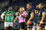 Referree Nigel Owens had his hands full during the Guinness Pro 14 2018_19 match between Edinburgh Rugby and Benetton Treviso at Murrayfield Stadium, Edinburgh, Scotland on 28 September 2018.