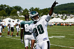 Philadelphia Eagles safety Rashad Baker #30 waves to fans during the Philadelphia Eagles NFL training camp in Bethlehem, Pennsylvania at Lehigh University on Saturday August 8th 2009. (Photo by Brian Garfinkel)
