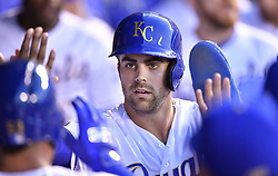 September 8, 2017 - Kansas City, MO, USA - The Kansas City Royals' Whit Merrifield is greeted after scoring on a sacrifice fly by Melky Cabrera in the first inning against the Minnesota Twins at Kauffman Stadium in Kansas City, Mo., on Friday, Sept. 8, 2017. (Credit Image: © John Sleezer/TNS via ZUMA Wire)