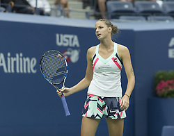 September 6, 2017 - New York, New York, United States - Karolina Pliskova of Czech Republic reacts during match against Coco Vandeweghe of USA at US Open Championships at Billie Jean King National Tennis Center  (Credit Image: © Lev Radin/Pacific Press via ZUMA Wire)