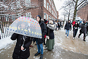 Brooklyn, NY - 2 March 2019. A line forms outside Bernie Sanders' first rally for the 2020 presidential primary at Brooklyn College. Despite the cold, snowy weather, the quadrangle was filled with supporters.