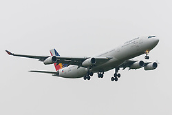 London Heathrow Airport, November 16th 2014. A Philippine Airlines Airbus A340-300 about to touch down on London Heathrow's runway 09L