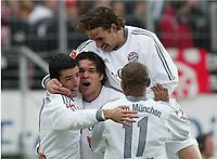 Fotball, 31. januar 2004, Bundesliga,, 0:1 Jubel Roy Makaay, Michale Ballack, Owen Hargreaves, Ze Roberto FC Bayern MŸnchen<br /> Bundesliga Eintracht Frankfurt - FC Bayern MŸnchen