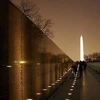 Visitors remember fallen loved ones at the Vietnam Memorial on Washington, D.C. on Valentines Day.