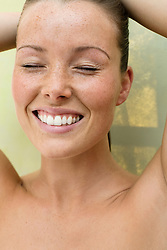 Beauty Portrait of Woman with Eyes Closed Smiling