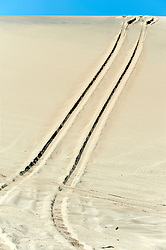 October 17, 2018 - Johnson Valley, California, U.S. -  Tire tracks in a sand dune on the course on Day 5 of the third annual Rebelle Rally, the first women's off-road navigation rally in the United States. The event features a unique scoring system in which precise navigation - not speed - is the ultimate goal.  With cell phones and GPS devices banned during the 10-day event, and armed with just maps, compasses and roadbooks, 43 two-person teams are tasked with scoring points based on time, distance and hidden checkpoints as they make their way across 1,600 miles of scrub brush, sand dunes and boulders in the Nevada and California desert.(Credit Image: © Brian Cahn/ZUMA Wire)