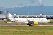 Vueling Airlines Airbus A320-200 (EC-LVX) ready for takeoff at Linate Airport, Milan, Italy