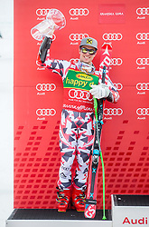 Second placed HIRSCHER Marcel of Austria celebrates during Trophy ceremony after the Men Giant Slalom race of FIS Alpine Ski World Cup 54th Vitranc Cup 2015, on March 14, 2015 in Kranjska Gora, Slovenia. Photo by Vid Ponikvar / Sportida