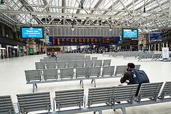 Glasgow, Scotland, UK. 1 April, 2020. Effects of Coronavirus lockdown on streets of Glasgow, Scotland. Almost deserted Glasgow Central Station concourse. Iain Masterton/Alamy Live News