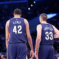 07 December 2014: New Orleans Pelicans center Alexis Ajinca (42) is seen next to New Orleans Pelicans forward Ryan Anderson (33) during the New Orleans Pelicans 104-87 victory over the Los Angeles Lakers, at the Staples Center, Los Angeles, California, USA.