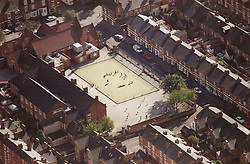 Aerial view of playground at Forest Fields Primary School in Nottingham,