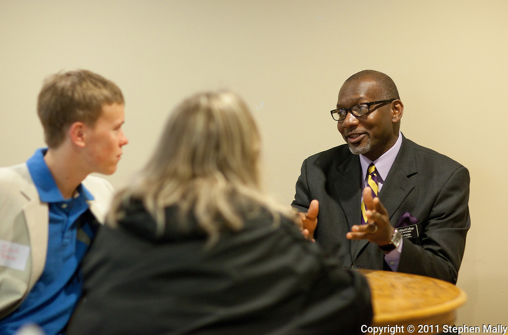 Waldorf College Director of Admissions Carl Childs talks with a prospective student during an open house at Waldorf College in Forest City, Iowa on Saturday, May 14, 2011.