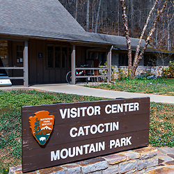 Thurmont, MD / USA - April 26, 2015:  The Visitor Center Sign at the Catoctin Mountain Park near Thurmont, Maryland. The Park is managed by the National Park Service.