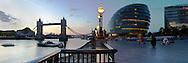 City Hall and Tower Bridge at dawn, London, Uk