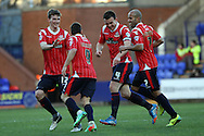 Walsall's Milan Lalkovic celebrates with his teammates after scoring his sides 1st goal against Tranmere Rovers. Skybet football league 1 match, Tranmere Rovers v Walsall at Prenton Park in Birkenhead, England on Saturday 11th Jan 2014.<br /> pic by Chris Stading, Andrew Orchard sports photography.
