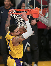 October 25, 2018 - Los Angeles, California, U.S - Kyle Kuzma #0 of the Los Angeles Lakers dunks the ball during their NBA game with the Denver Nuggets on Thursday October 25, 2018 at the Staples Center in Los Angeles, California. Lakers defeat Nuggets, 121-114. (Credit Image: © Prensa Internacional via ZUMA Wire)