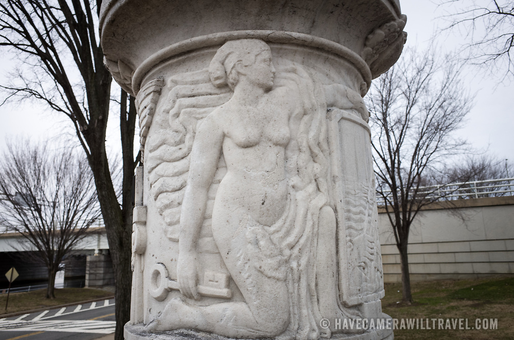 Located in East Potomac Park in Washington DC, the Cuban American Friendship Urn is a 7-ton white marble urn carved from one of the columns that was originally part of the Maine Monument in Havana, Cuba, that memorialized the sinking of the Maine, an event that helped spark the Spanish American War and led to the independence of Cuba from Spain.