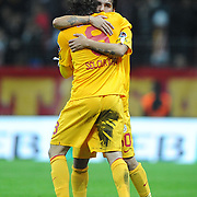Galatasaray's Engin Baytar (B) celebrate his goal with team mate during their Turkish Superleague soccer match Galatasaray between Sivasspor at the Turk Telekom Arena at Aslantepe in Istanbul Turkey on Saturday 26 November 2011. Photo by TURKPIX
