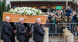 © Licensed to London News Pictures. 31/03/2018. Cambridge, UK. The funeral of Stephen Hawking at Church of St Mary the Great in Cambridge, Cambridgeshire. Professor Hawking, who was famous for ground-breaking work on singularities and black hole mechanics, suffered from motor neurone disease from the age of 21. He died at his Cambridge home in the morning of 14 March 2018, at the age of 76. Photo credit: Rob Pinney/LNP