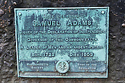 Samuel Adams grave at the Granary Burial Ground on the Freedom Trail, Boston, Massachusetts