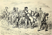 Paysans andalous se rendant a la Feria de Séville [Andalusian peasants going to the Seville Fair] Page illustration from the book 'L'Espagne' [Spain] by Davillier, Jean Charles, barón, 1823-1883; Doré, Gustave, 1832-1883; Published in Paris, France by Libreria Hachette, in 1874
