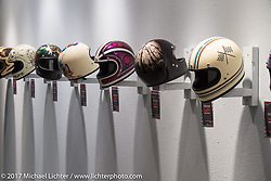 Helmet display in the Old Iron - Young Blood exhibition in the Motorcycles as Art gallery at the Buffalo Chip during the annual Sturgis Black Hills Motorcycle Rally. SD, USA. Tuesday August 8, 2017.  Photography ©2017 Michael Lichter.