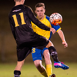 BRISBANE, AUSTRALIA - AUGUST 26: Ryan Palmer of the Strikers passes the ball during the NPL Queensland Senior Men's Semi Final match between Brisbane Strikers and Moreton Bay Jets at Perry Park on August 26, 2017 in Brisbane, Australia. (Photo by Patrick Kearney)