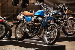 "Randy Rothlisberger's Klock Werks ""Boondoggle"" custom Buell XB9 engine in an an early Evo Sportster-style frame at the Handbuilt Show. Austin, TX. USA. Sunday April 22, 2018. Photography ©2018 Michael Lichter."