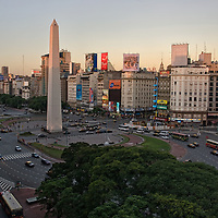"""Sunset over the """"Avenida 9 de Julyo"""", world's widest avenue with 16 lanes! Invest some minutes if you want to cross this avenue."""