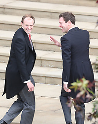 Jack Brooksbank (right) and his best man Thomas Brooksbank arrive for his wedding to Princess Eugenie at St George's Chapel in Windsor Castle.
