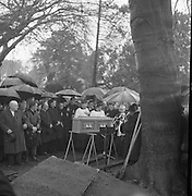 The State Funeral of William. T. Cosgrave, former President of the Executive Council of the Irish Free State, took place at the Church of the Annunciation, Rathfarnham, to Golden Bridge Cemetery. A general view of the graveside as the remains are blessed prior to internment..18.11.1965