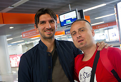 Tomislav Butina of Croatia and Rok Plestenjak, journalist of Tsmedia of Slovenia a day before the beginning of Euro 2012 Poland-Ukraine, on June 7, 2012 in Warsaw Airport, Poland. (Photo by Vid Ponikvar / Sportida.com)