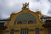 Art Nouveau decoration on the facade of the Hotel Europa in Wencslas Square Prague, Czech Republic. The hotel built in 1903 is one of the most preserved examples of art nouveau architecture in Prague.