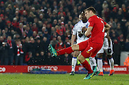James Milner of Liverpool scores his teams 2nd goal from the penalty spot. Premier League match, Liverpool v Sunderland at the Anfield stadium in Liverpool, Merseyside on Saturday 26th November 2016.<br /> pic by Chris Stading, Andrew Orchard sports photography.