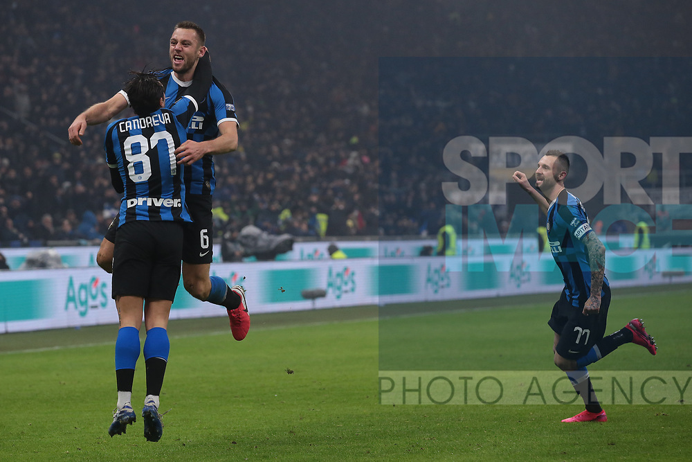 Stefan de Vrij of Inter celebrates with team mates after scoring to give the side a 3-2 lead during the Serie A match at Giuseppe Meazza, Milan. Picture date: 9th February 2020. Picture credit should read: Jonathan Moscrop/Sportimage