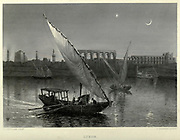 A Nile Gyassi in full sail on the Nile river at Luxor, Egypt  Steel engraving of from 'Picturesque Palestine, Sinai and Egypt' by Wilson, Charles William, Sir, 1836-1905; Lane-Poole, Stanley, 1854-1931 Volume 4. Published in 1884 by J. S. Virtue and Co, London