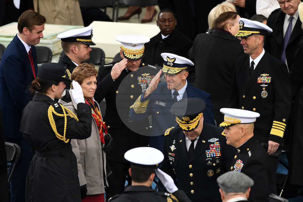 Members of the Joint Chiefs Salute as they arrive for the Inauguration of President-elect Donald Trump as the 45th President on Capitol Hill January 20, 2017 in Washington, DC.