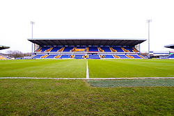 A general view of the One Call Stadium, home to Mansfield Town - Mandatory by-line: Ryan Crockett/JMP - 17/02/2021 - FOOTBALL - One Call Stadium - Mansfield, England - Mansfield Town v Bolton Wanderers - Sky Bet League Two